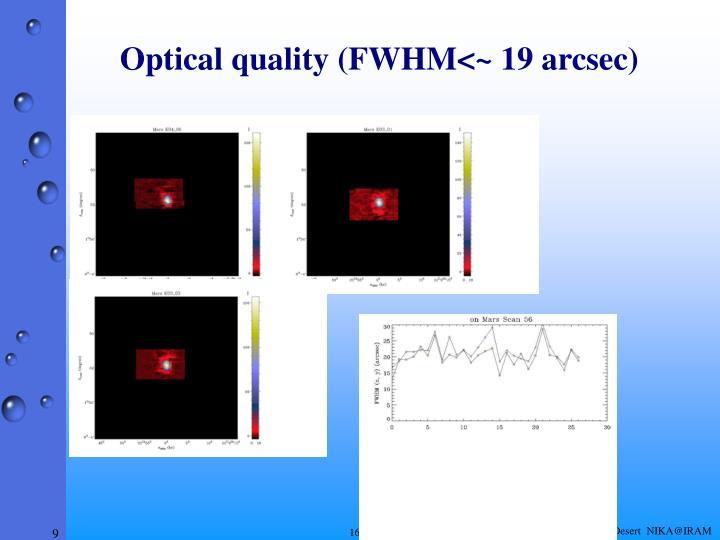 Optical quality (FWHM<~ 19 arcsec)