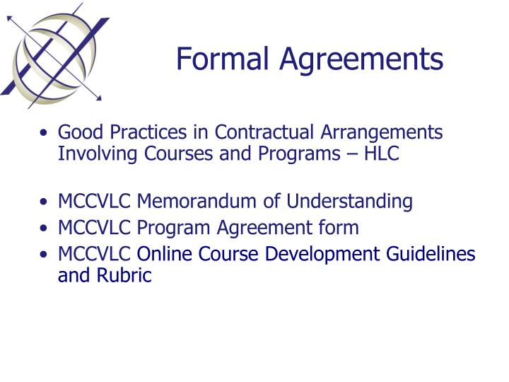 Formal Agreements