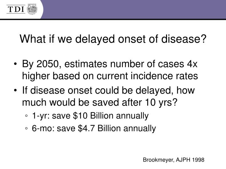 What if we delayed onset of disease?