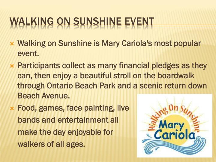 Walking on Sunshine is Mary
