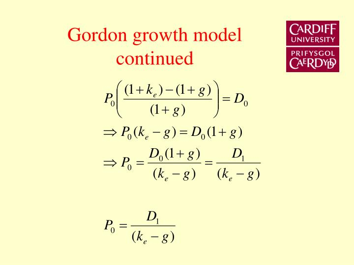 Gordon growth model continued
