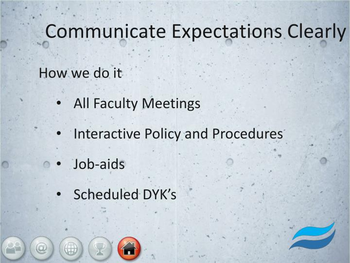 Communicate Expectations Clearly