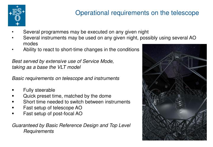 Operational requirements on the telescope