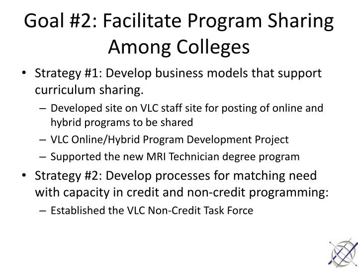 Goal #2: Facilitate Program Sharing Among Colleges