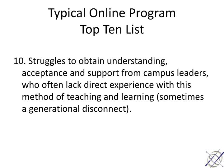 Typical Online Program
