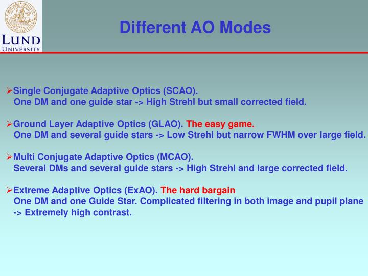 Different AO Modes