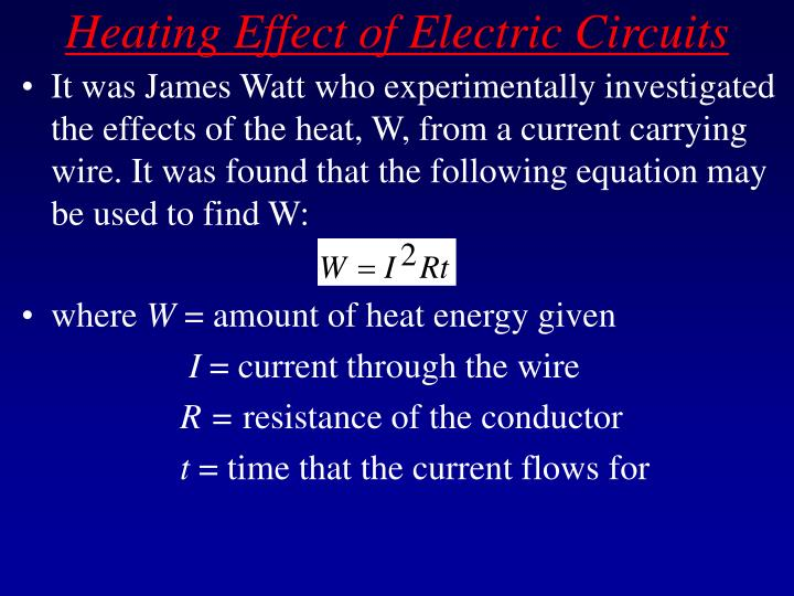 Heating effect of electric circuits