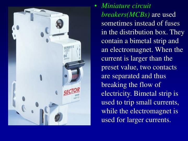 Miniature circuit breakers(MCBs)