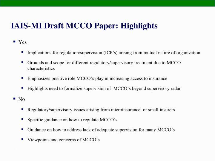 IAIS-MI Draft MCCO Paper: Highlights