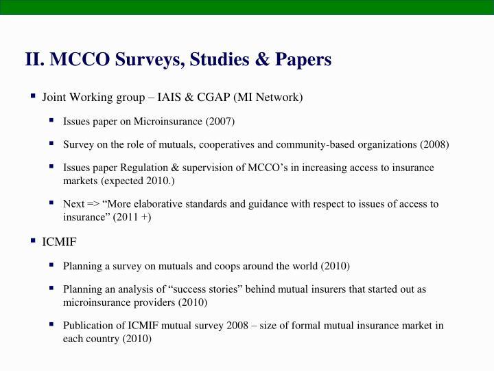 II. MCCO Surveys, Studies & Papers