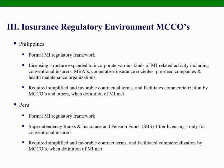 III. Insurance Regulatory Environment MCCO's