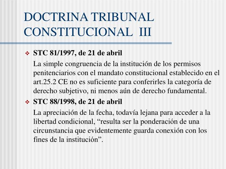 DOCTRINA TRIBUNAL CONSTITUCIONAL  III