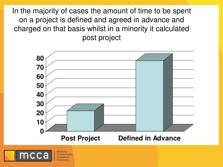 In the majority of cases the amount of time to be spent on a project is defined and agreed in advance and charged on that basis whilst in a minority it calculated post project