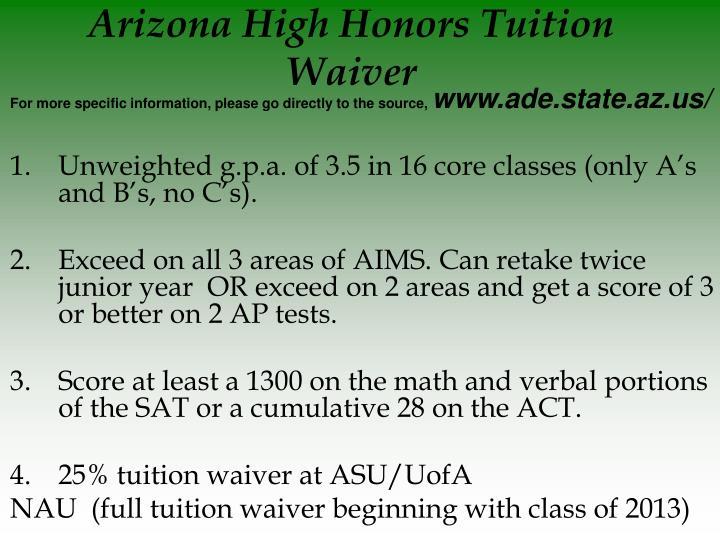 Arizona High Honors Tuition Waiver