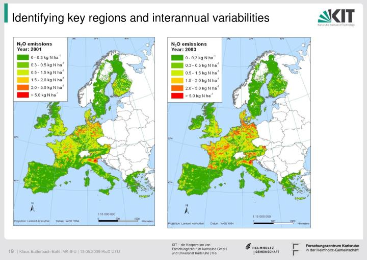 Identifying key regions and interannual variabilities