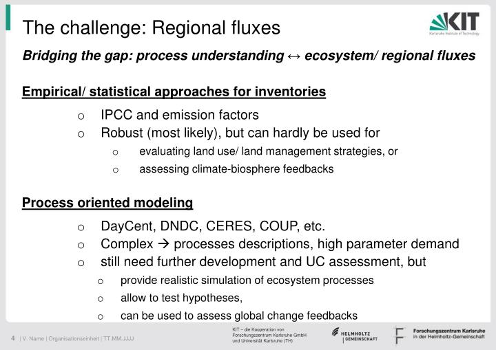 The challenge: Regional fluxes