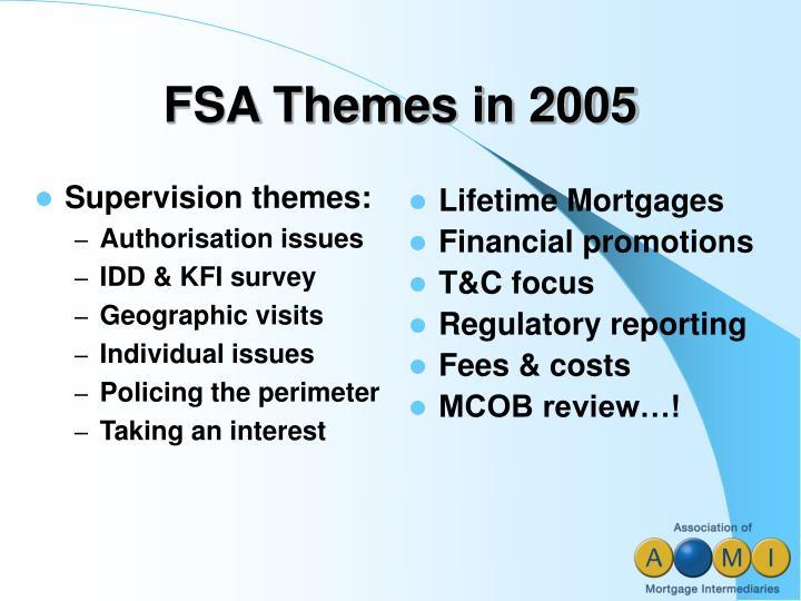 FSA Themes in 2005