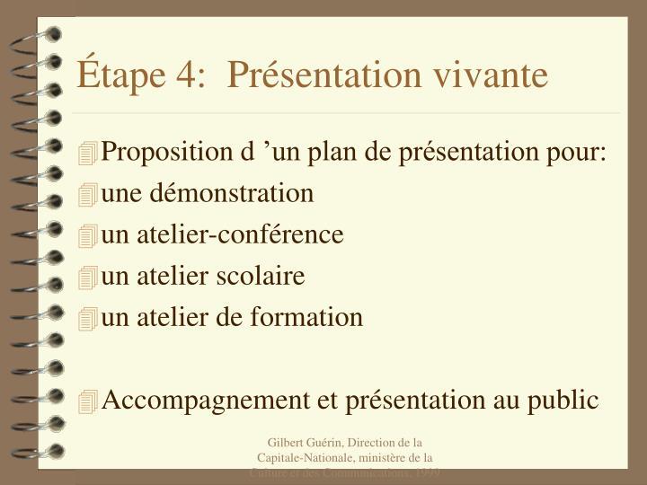 Étape 4:  Présentation vivante