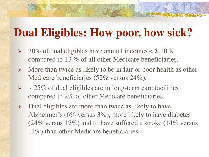 Dual Eligibles: How poor, how sick?