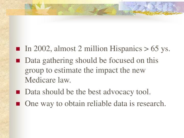 In 2002, almost 2 million Hispanics > 65 ys.