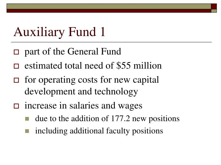 Auxiliary Fund 1