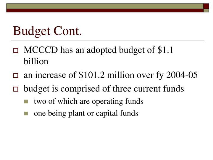 Budget Cont.