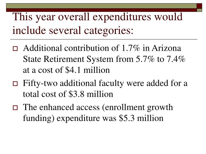 This year overall expenditures would include several categories: