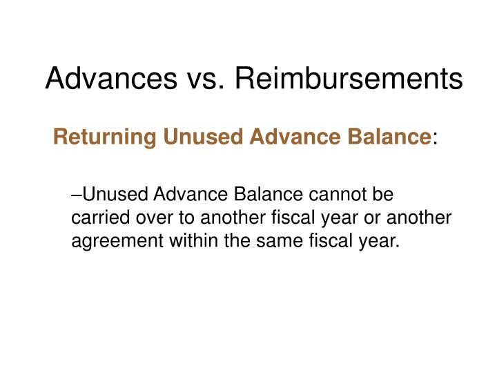 Advances vs. Reimbursements