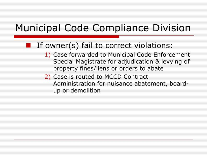 Municipal code compliance division1