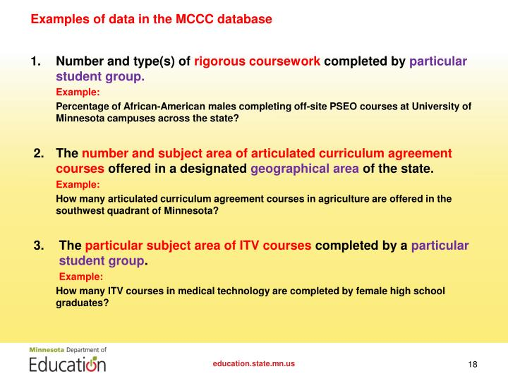 Examples of data in the MCCC database
