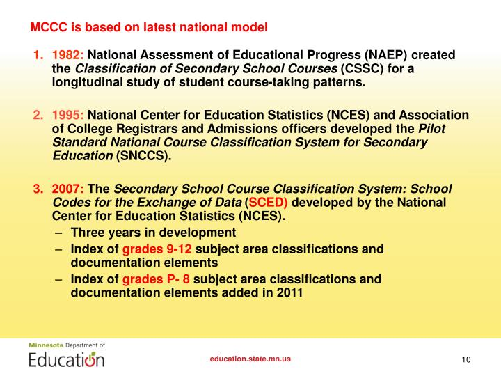 MCCC is based on latest national model