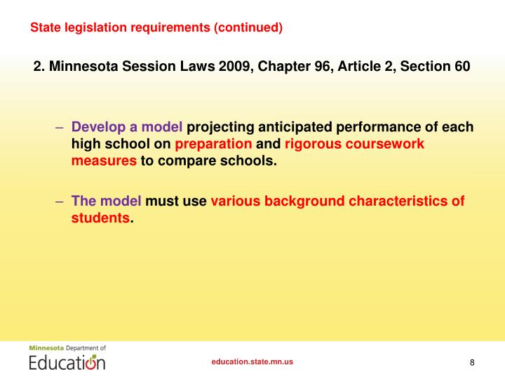 State legislation requirements (continued)