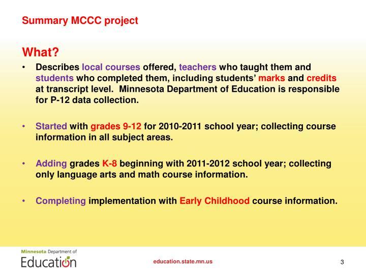 Summary MCCC project
