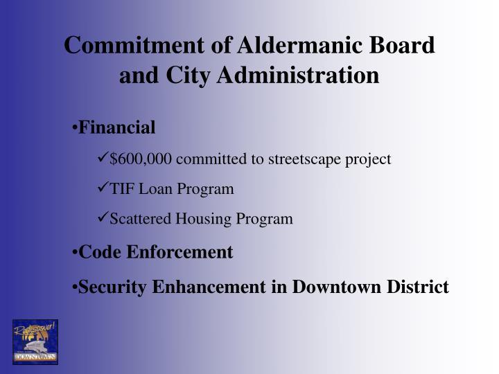 Commitment of Aldermanic Board