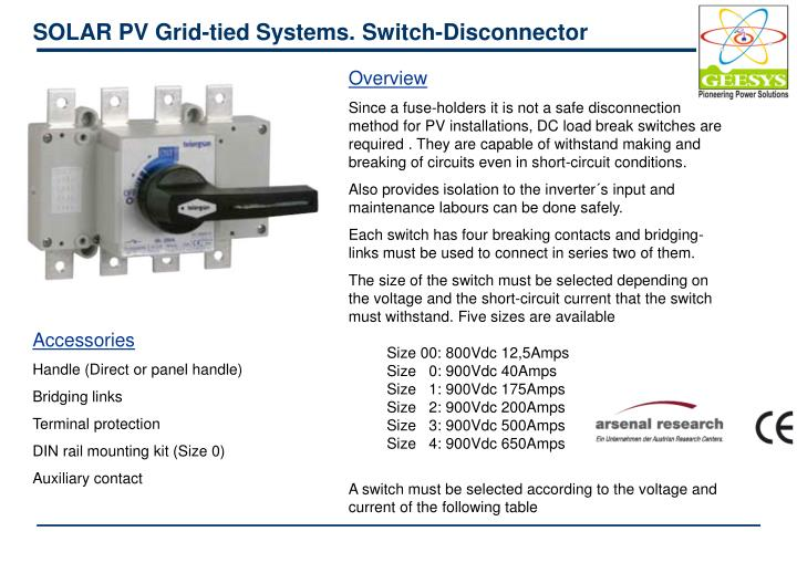 SOLAR PV Grid-tied Systems. Switch-Disconnector