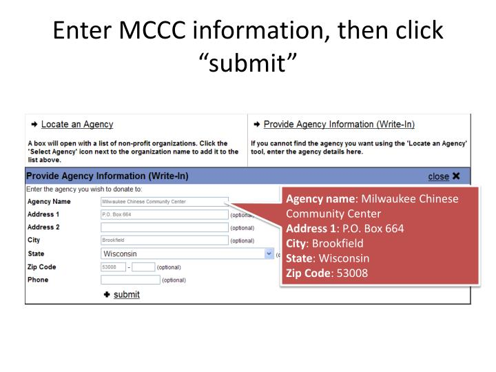 "Enter MCCC information, then click ""submit"""