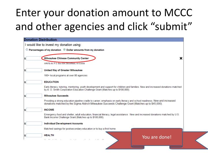 "Enter your donation amount to MCCC and other agencies and click ""submit"""