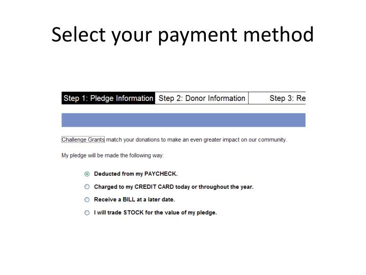 Select your payment method