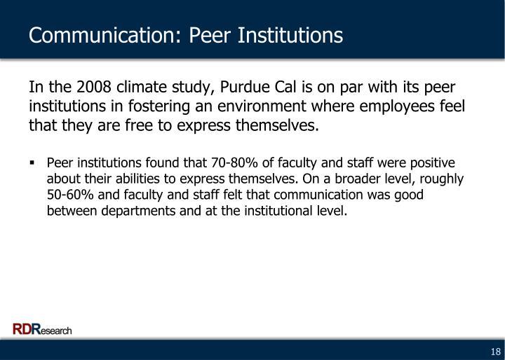 Communication: Peer Institutions