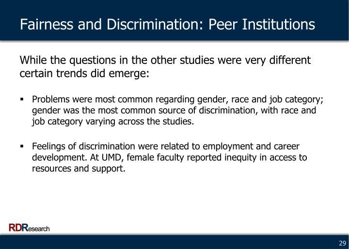 Fairness and Discrimination: Peer Institutions