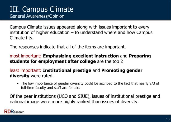 III. Campus Climate