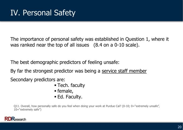 IV. Personal Safety