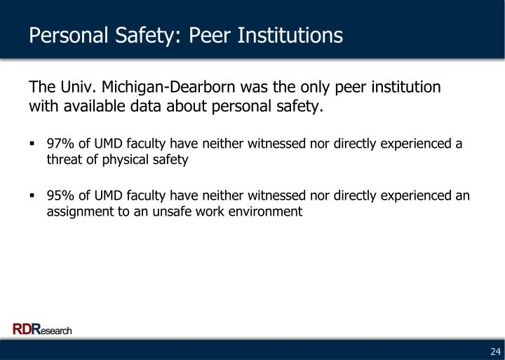 Personal Safety: Peer Institutions