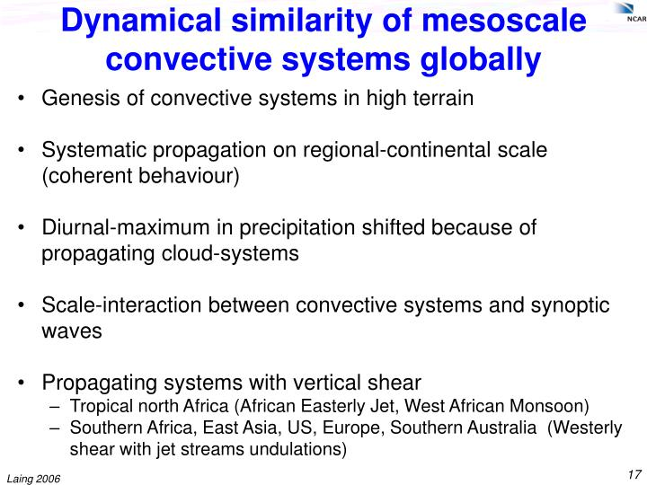 Dynamical similarity of mesoscale convective systems globally