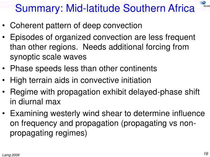 Summary: Mid-latitude Southern Africa