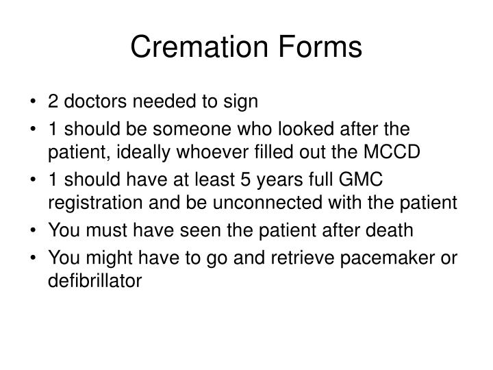 Cremation Forms