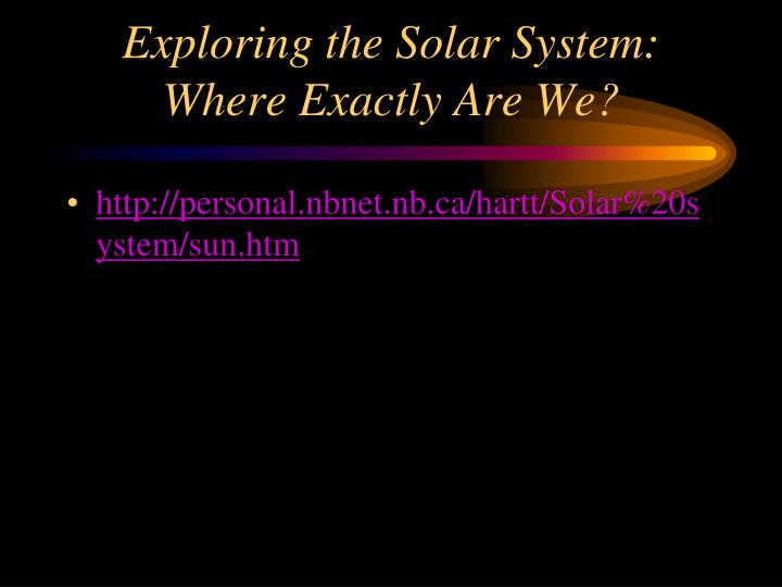 Exploring the Solar System: Where Exactly Are We?