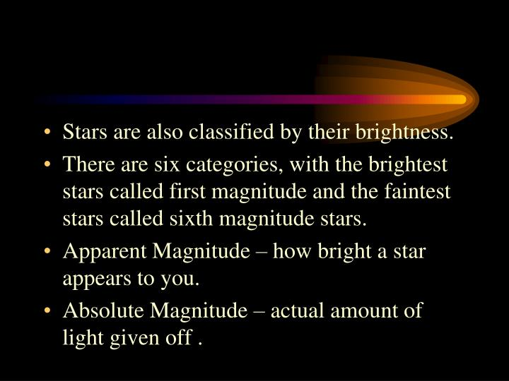 Stars are also classified by their brightness.