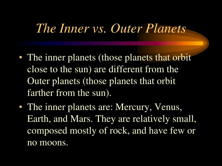 The Inner vs. Outer Planets