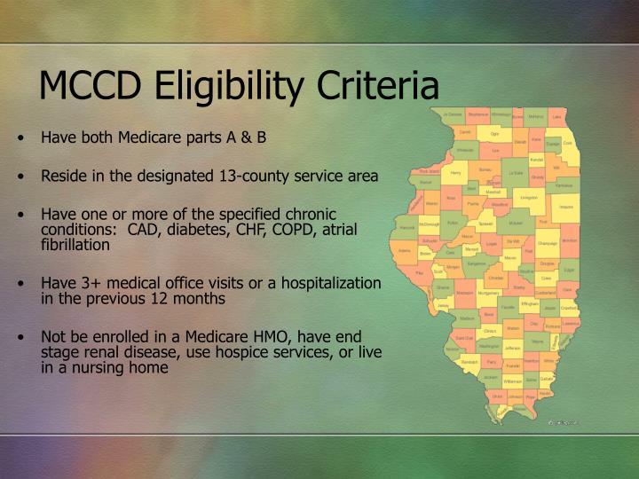 MCCD Eligibility Criteria